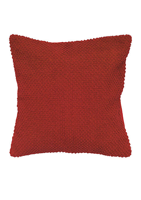 Rizzy Home Red Solid Textured Decorative Pillow