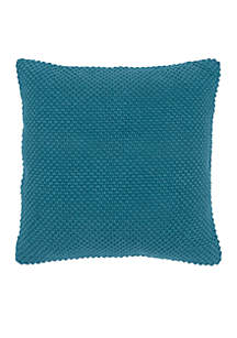 Peacock Blue Textured Decorative Pillow