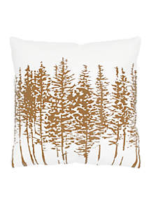 White and Brown Trees Cotton Pillow