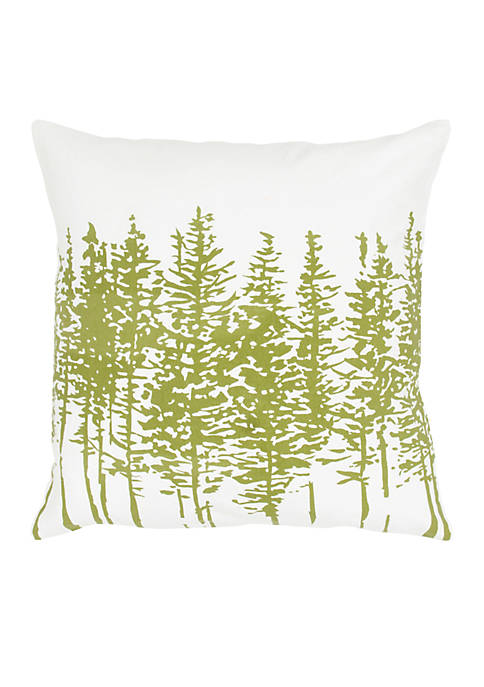 Rizzy Home White and Green Trees Cotton Pillow