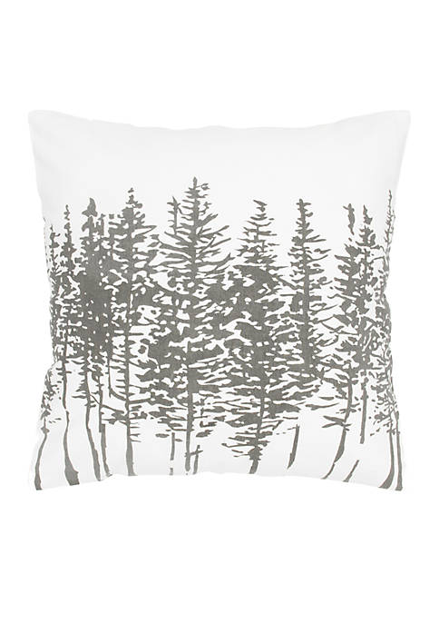 Rizzy Home White and Grey Trees Cotton Pillow