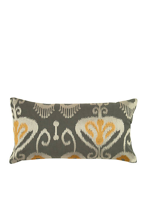 Rizzy Home Grey Ikat Flourish Pillow