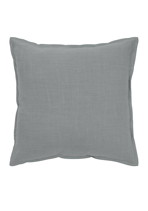 Rizzy Home Solid Grey Cotton Flanged Pillow