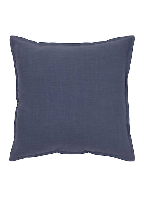 Solid Navy Cotton Flanged Pillow
