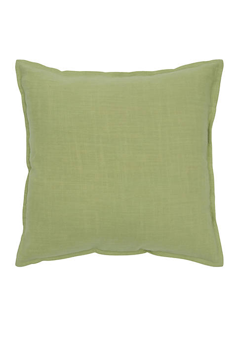 Rizzy Home Solid Lime Cotton Flanged Pillow