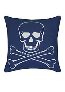 Skull And Cross Bones Blue Decorative Filled Pillow