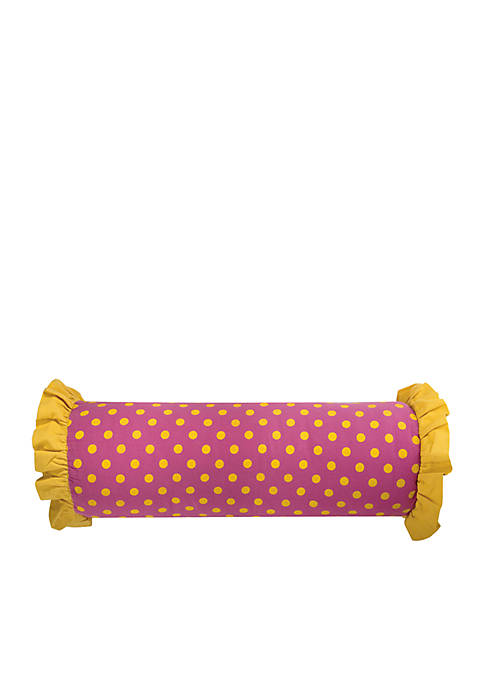 Polka Dots Pink Decorative Filled Pillow