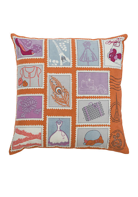 Rizzy Home Girl Things Blocked Orange Decorative Filled