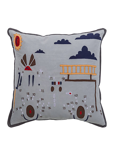 Rizzy Home Fire Truck Grey Decorative Filled Pillow