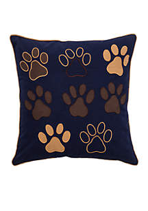 Paws Blue Decorative Filled Pillow