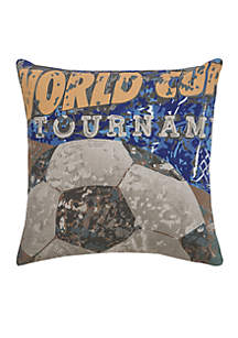 World Cup Soccer Blue Decorative Filled Pillow