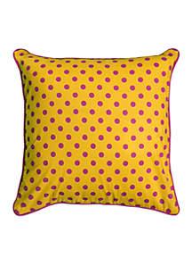 Polka Dots Pink Decorative Filled Pillow
