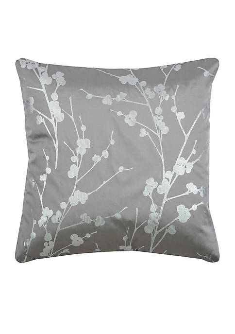 Rizzy Home Botanical Grey Decorative Filled Pillow