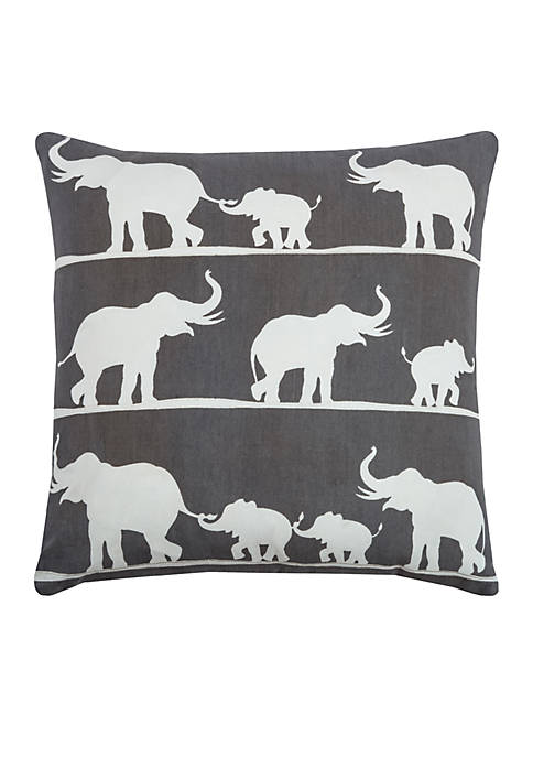 Rizzy Home Elephants Pillow