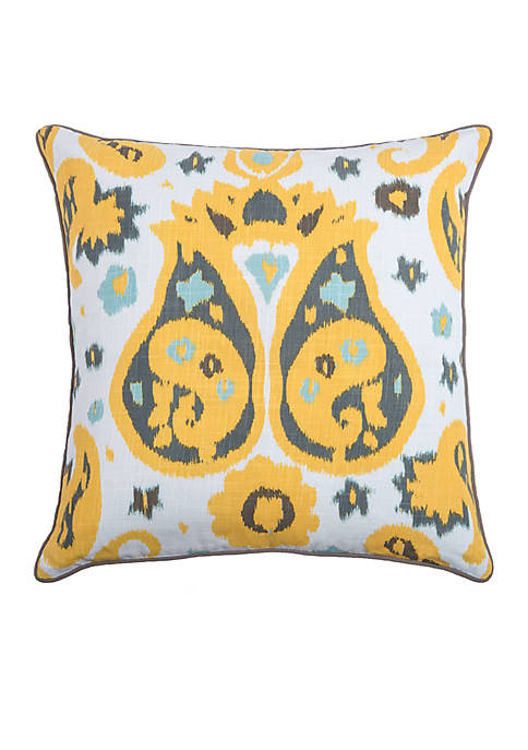 Rizzy Home Ikat With Paisley Flourishes Yellow Decorative
