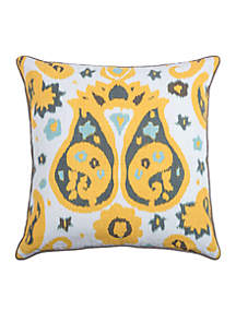 Ikat With Paisley Flourishes Yellow Decorative Filled Pillow