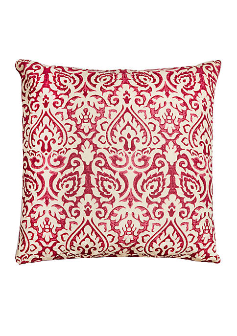 Rizzy Home Red Damask Pillow