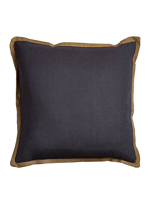 Rizzy Home Charcoal Grey Cotton Decorative Pillow