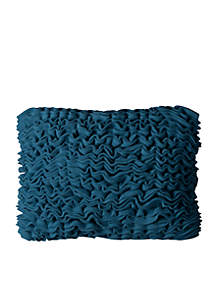 Solid Fleece Ruffled Front Blue Decorative Filled Pillow