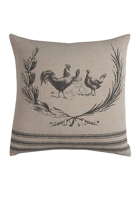 Grey Rooster Cotton Decorative Pillow