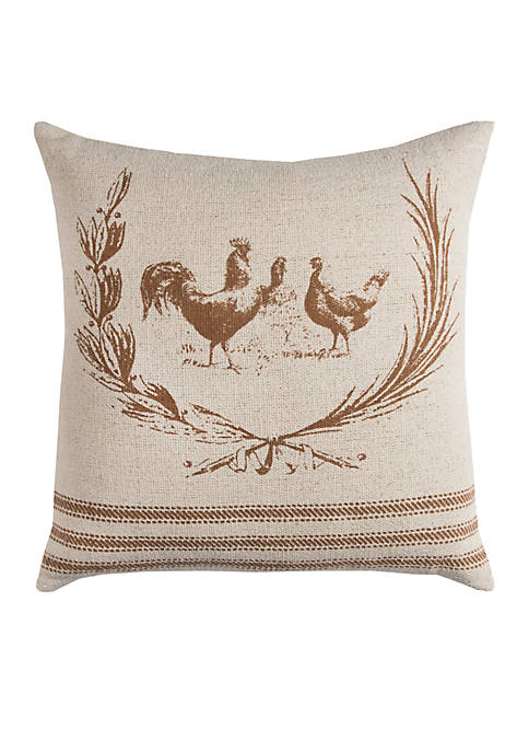 Rizzy Home Brown Chicken Cotton Decorative Pillow