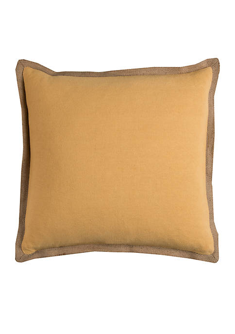Solid Yellow Cotton Decorative Pillow