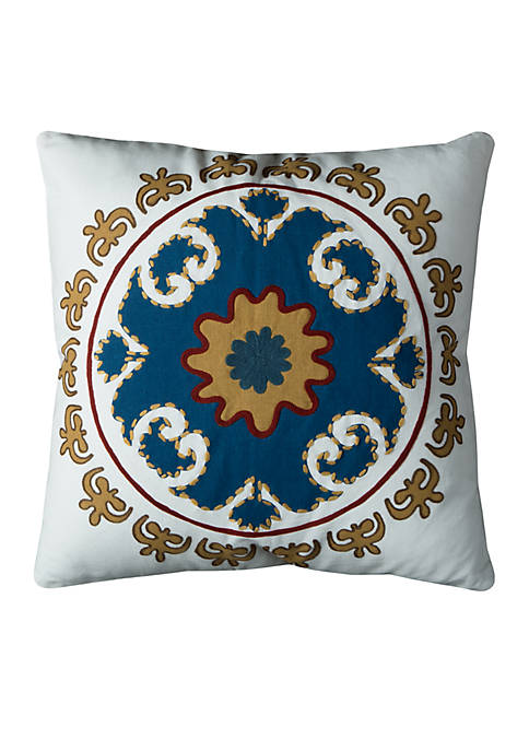 Rizzy Home Medallion Pattern Ivory Decorative Filled Pillow