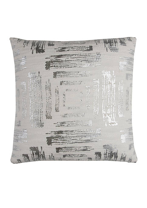 Rizzy Home Silver Textured Foil Print Abstract Pillow