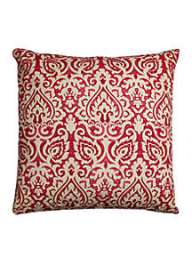 Rizzy Home Red Damask Burlap Decorative Pillow