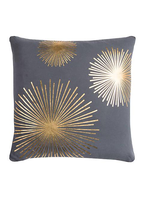 Star Burst Charcoal Decorative Filled Pillow