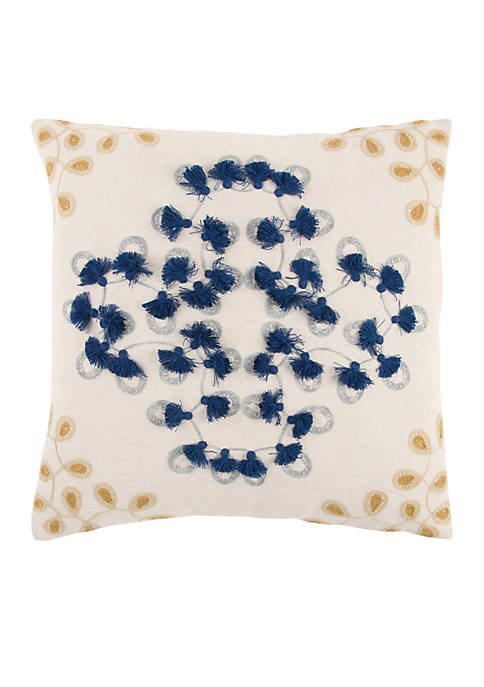 Rizzy Home Ivory Floral Poly Decorative Pillow