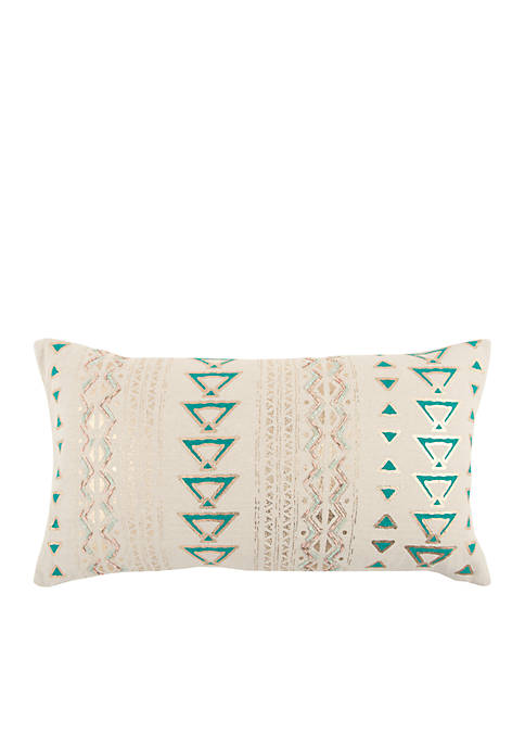 Rizzy Home Geometric Emerald Decorative Filled Pillow
