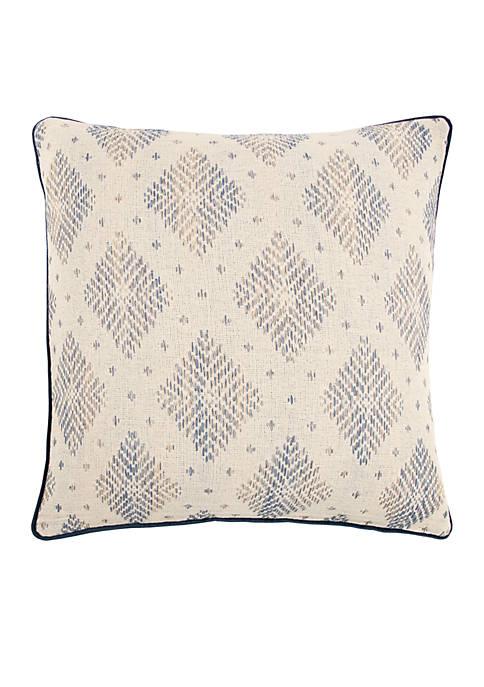 Woven Diamond Blue Decorative Filled Pillow