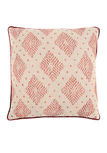 Rizzy Home Woven Diamond Red Decorative Filled Pillow