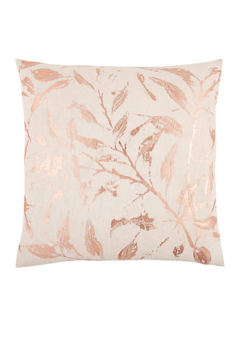 Rizzy Home Floral Rose Gold Decorative Filled Pillow