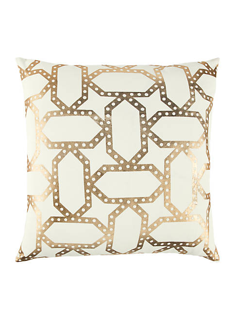 Geometric Gold Decorative Filled Pillow