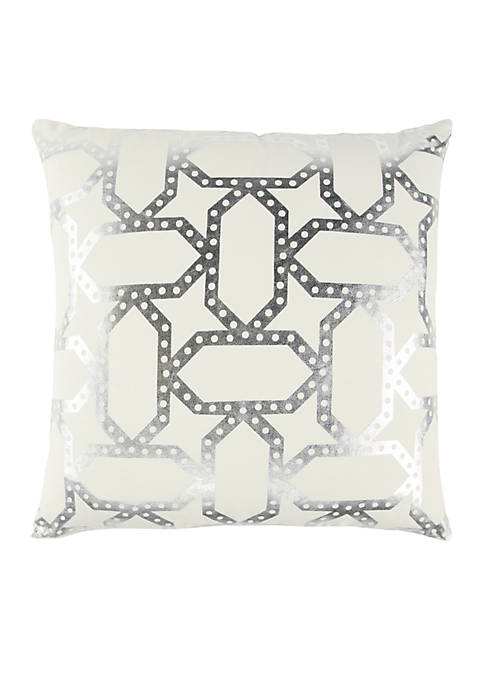 Geometric Silver Decorative Filled Pillow