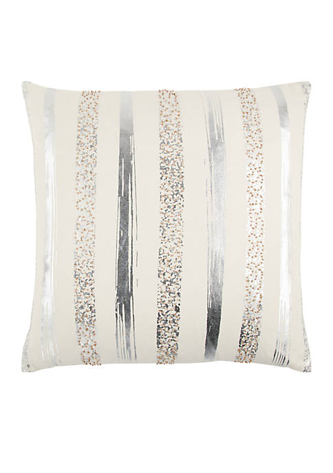 Stripe Silver Decorative Filled Pillow