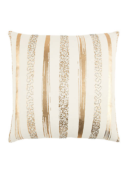 Stripe Gold Decorative Filled Pillow