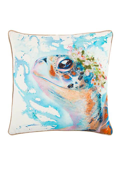 Turtle Blue Decorative Filled Pillow