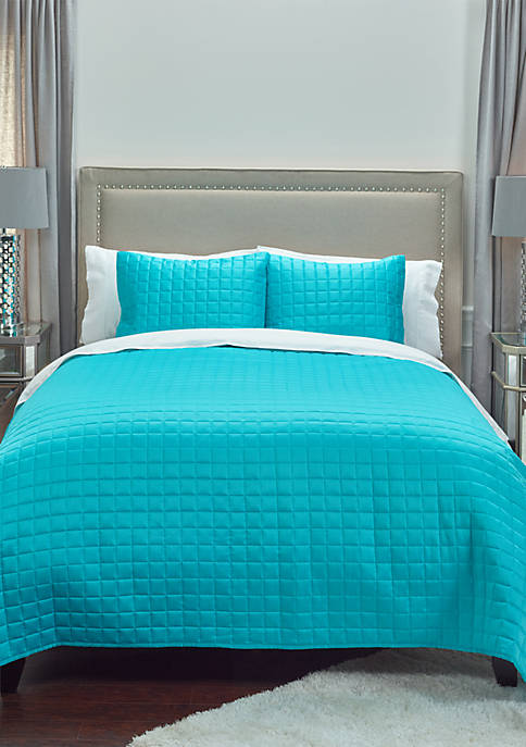 Rizzy Home Aqua Satin Quilted Bedding-Twin