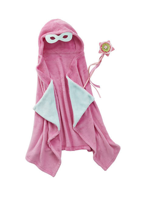 Lightning Bug Super Girl Kids Plush Hooded Throw