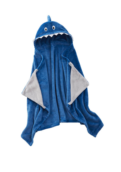Lightning Bug Plush Shark Hooded Throw