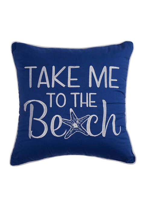18 in x 18 in Bayside Cove Embroidered Pillow