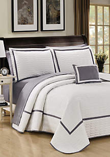Chic Home Mesa Quilt Set- White