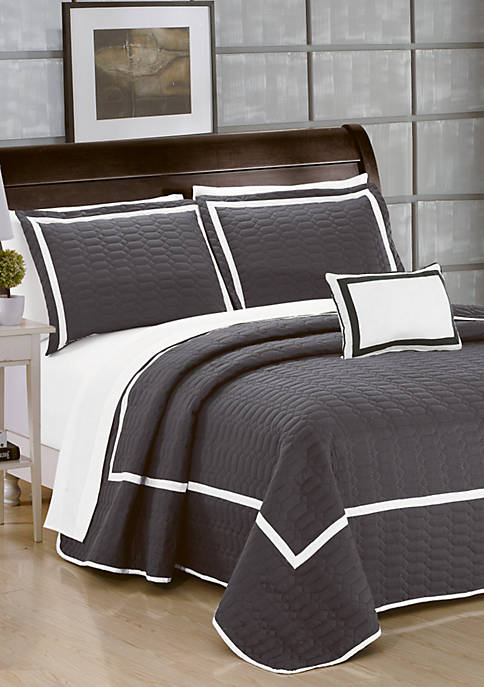 Chic Home Mesa Quilt Set- Grey