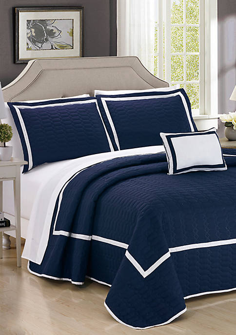 Chic Home Mesa Quilt Set- Navy