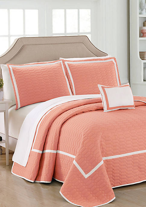 Chic Home Mesa Quilt Set- Coral