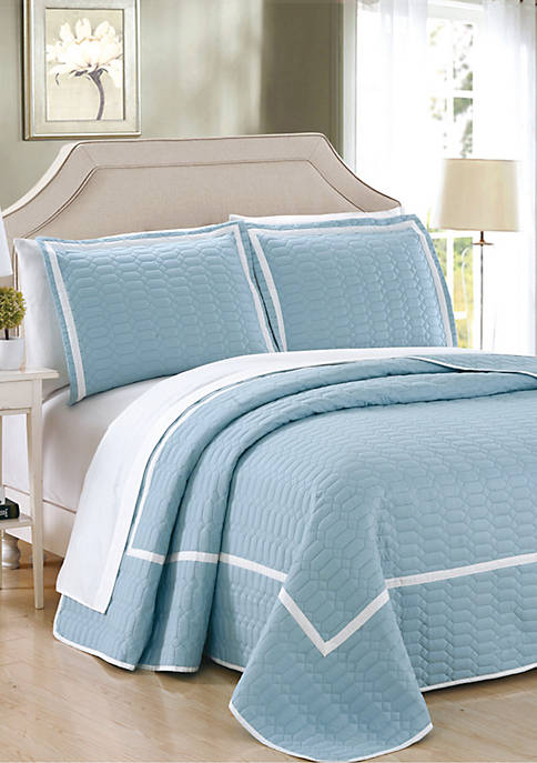 Chic Home Birmingham Quilt Set- Blue