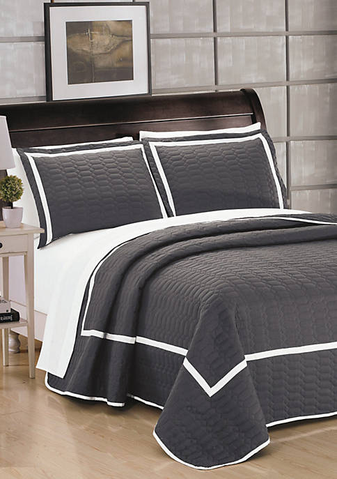 Chic Home Birmingham Quilt Set- Grey